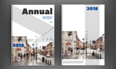 Blue Brochure cover design template. Annual Report layout, Flyer Leaflet Presentation. Modern simple clean background. A4 size vector illustration