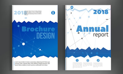 Technology Annual report with connections. Brochure design template vector, Leaflet cover presentation abstract background, layout in A4 size
