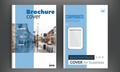 Blue cover set business brochure vector design. Leaflet advertising background with blured city. Modern magazine layout. Annual report for presentation, poster