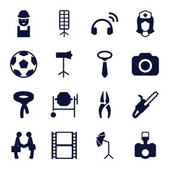 Set of 16 professional filled icons