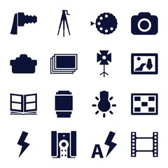 Set of 16 photo filled icons