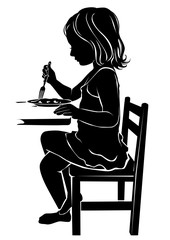 Silhouette girl eats