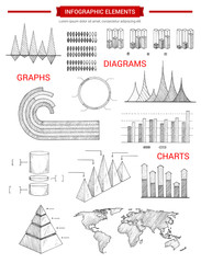 Infographic diagram charts vector sketch elements