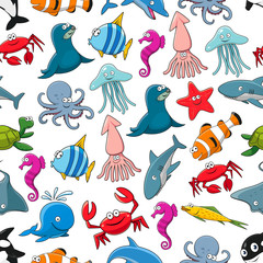 Cartoon fishes and ocean animals vector pattern
