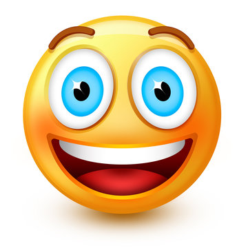 Cute smiley-face emoticon or 3d happy emoji with a smiling open mouth, showing teeths and happy open eyes