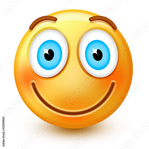 Cute smiley-face emoticon or 3d happy emoji with smiling mouth ... on free icons, free clip art smiley faces, free music smileys, free animal smileys, free dancing smileys, free graphics smileys, sports smileys, free halloween smiley faces, office smileys, free characters, free emoticons, animated smileys, free party smileys,