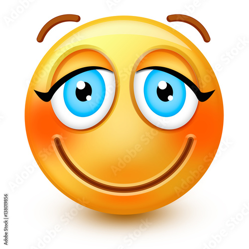 Cute blushing-face emoticon or 3d smiley emoji with embarassed ...