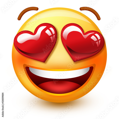 Cute blushing-face emoticon or 3d smiley emoji with