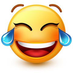 Cute laughing-face emoticon or 3d smiley emoji, laughing so much that it's crying tears of joy.