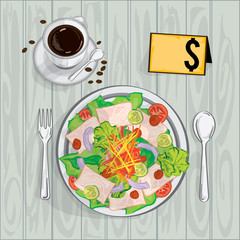 foods objects salad coffee drawing graphic design template
