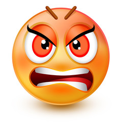 Cute very angry face emoticon or 3d furious red emoji with inward-facing eyebrows and a frowning mouth. It shows anger and grumpiness.