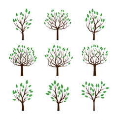 Set of Color Trees with Green Leafs. Vector Illustration.