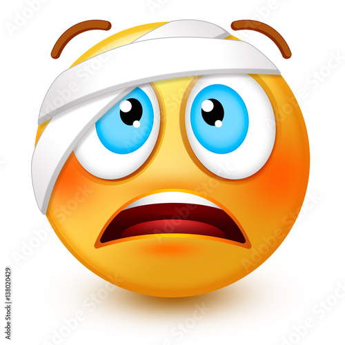 Quot Cute Injured Face Emoticon Or 3d Wounded Emoji With A