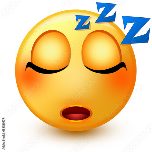 Cute sleeping face emoticon or 3d sleepy emoji with closed eyes and
