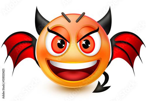 Funny devil-like face emoticon or 3d red demon emoji with horns, bat