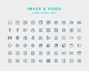 Image  and Videos Line Icon Set