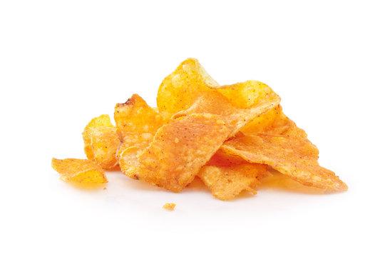 Pile of potato chips on white