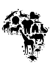 African animal silhouette set with footprints