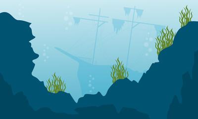 Beauty landcape of underwater vector flat