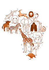 African animal set with footprints background