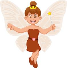 funny little fairy girl cartoon flying