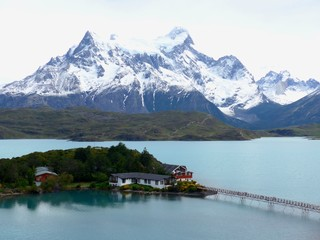 Stunning hotel on a small island in Lago de Toro with the beautiful Torres del Paine as a Backdrop.