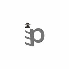 Letter P lighthouse Logo Vector