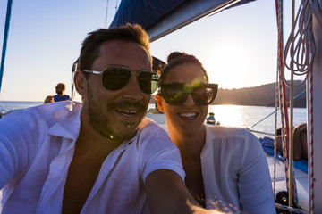 Couple selfie on yacht