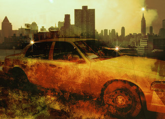 Photo sur Aluminium New York TAXI NYC Composition