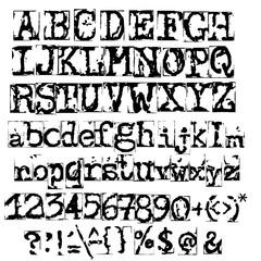 Vector old typewriter font. Vintage grunge letters. Old destroyed printed letters.
