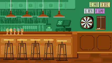 Bar Restaurant with counter in flat style.