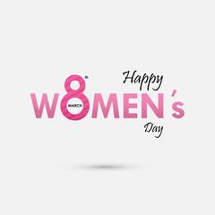 "Pink ""Women"" Typographical Design Elements. International women's day icon.Women's day symbol.Minimalistic design for international women's day concept."