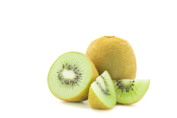Wall Mural - sliced Kiwi fruit isolated on white background cutout