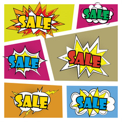 Set Comics speech bubble with expressions stickers SALE