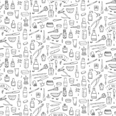 Seamless pattern with hand drawn doodle Nail salon icons set. Vector illustration. Manicure accessories collection. Cartoon sketch pedicure tools elements: polish, bottle, brush, varnish, scissors