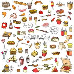 Hand drawn doodle Fast food icons set. Vector illustration. Junk food elements collection. Cartoon snack various sketch symbol: soda, burger, potato,hot dog, pizza, tacos, sweet desert, donut, popcorn