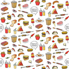 Seamless pattern Hand drawn doodle Fast food icons set. Vector illustration. Junk food elements collection. Cartoon snack sketch symbol: soda, burger, hot dog, pizza, tacos, sushi, sandwich, popcorn