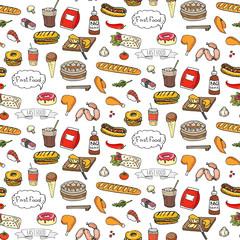 Seamless pattern Hand drawn doodle Fast food icons set. Vector illustration. Junk food elements collection. Cartoon snack sketch symbol: soda, burger, hot dog, pizza, tacos, sushi, sandwich, popcorn