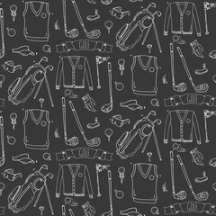 Seamless pattern Hand drawn doodle Golf icons set. Vector illustration. Game collection. Cartoon golfing sketch elements: clubs, tee, bag, cart, sport cloth, polo shirt, umbrella, flag, hole, grass.