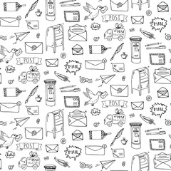 Seamless pattern Hand drawn doodle Postal elements icon set. Vector illustration. Isolated post symbols collection. Cartoon various mail element: letter, envelope, stamp, post box, package.