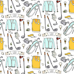 Seamless pattern Hand drawn doodle Golf icons set. Vector illustration Game collection.Cartoon golfing sketch elements: clubs, tee, bag, cart, sport cloth, shoes, polo shirt, umbrella, flag hole grass