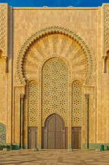 Ornate gates of a Moroccan mosque of Hassan II in Casablanca Morocco