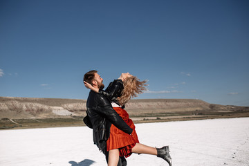 couple in love on the salt lake.