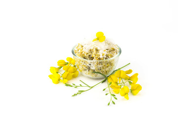 Yellow flower Sesbania food isolated on a white background.