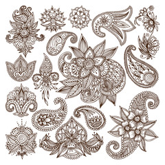Henna mehndi flower template vector.