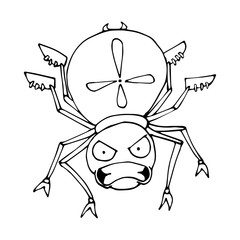 The outline of a spider in a cartoon style. A sketch of the insect. Vector isolated image. The emotion of anger.