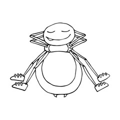 The outline of a spider in a cartoon style. A sketch of the insect. Vector isolated image. Sleeping.