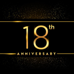 Celebrating of 18 years anniversary, logotype golden colored isolated on black background and confetti, vector design for greeting card and invitation card