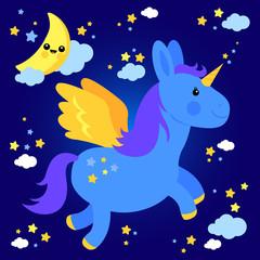 Cute unicorn flying in the night sky