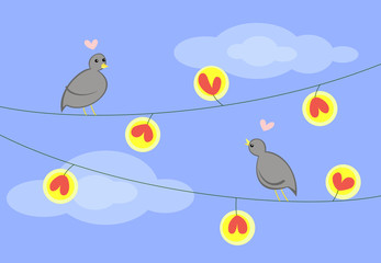 Two cartoon pigeons on the garland with heart shape lamps